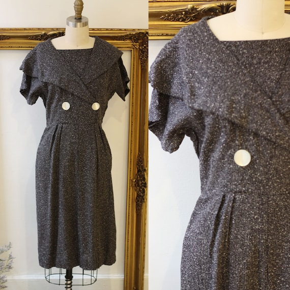 1960s black speckle sheath dress //  1960s speckled dress // vintage cocktail dress