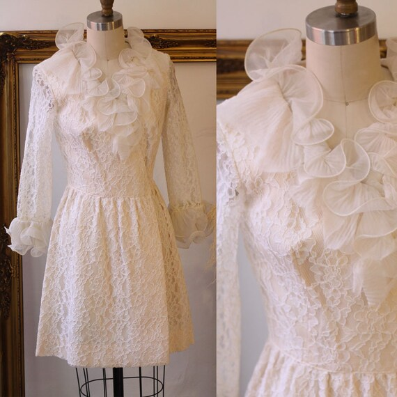 1960s ruffle lace dress // 1960s long sleeve dress // vintage lace dress