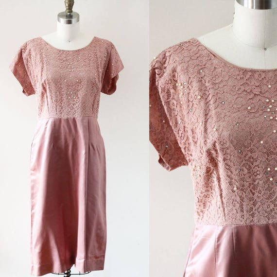 1960s pink sheath dress // 1960s lace and pearl dress // vintage party dress