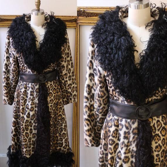1970s faux leopard wrap coat // 1970s leopard coat // vintage coat
