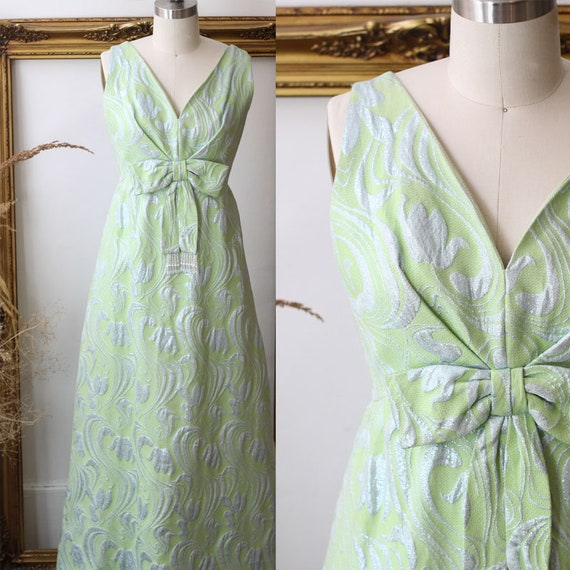 1960s green jacquard dress // 1960s soft green column gown // vintage gown