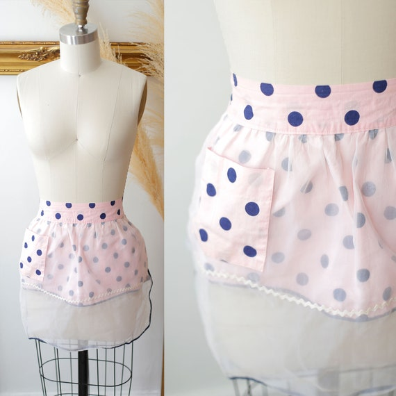 1960s pink and blue apron // vintage polka dot apron //vintage apron