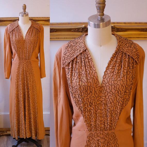 1940s copper silk dress  // 1940s beading dress // vintage dress