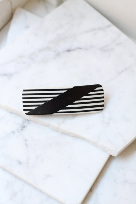 1980s plastic hair clip // 1980s striped hair barrette // vintage hair barrette
