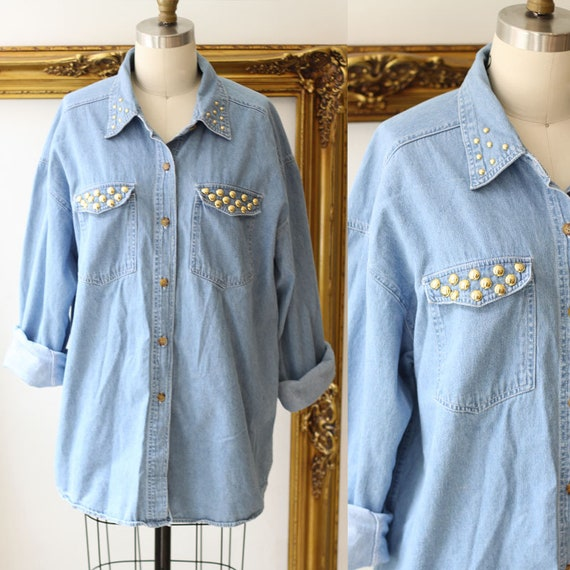 1980s studded denim blouse // 1980s jean shirt // vintage denim shirt