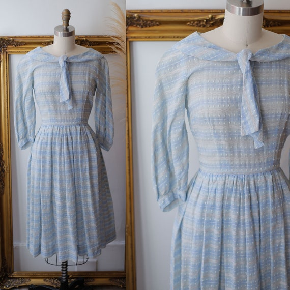 1950s swiss dot dress // 1950s sheer stripe dress // vintage dress