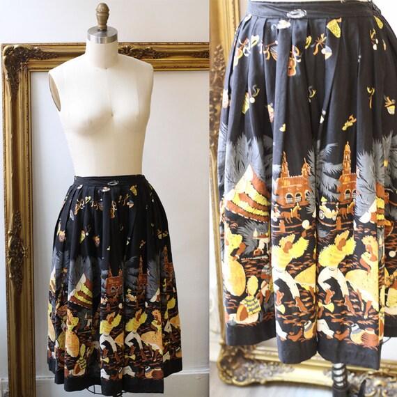 1950s calypso dancer skirt // novelty skirt // vintage circle skirt