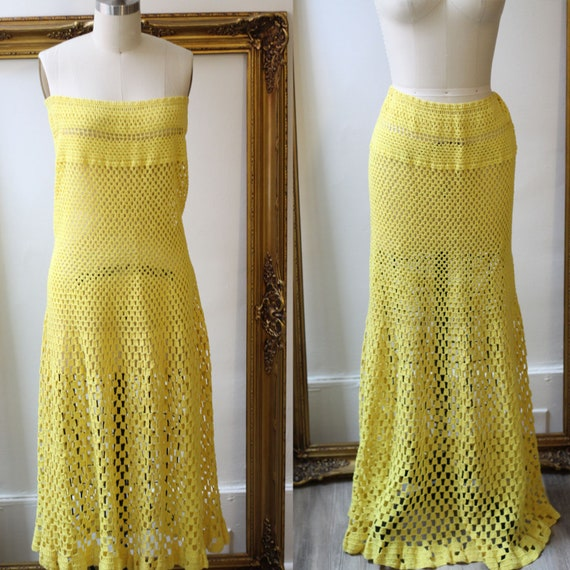 1970s yellow crochet maxi skirt // 1970s crochet strapless dress // vintage skirt