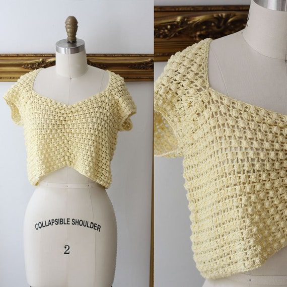 1970s knit crop top // yellow crop top // 1970s crop top