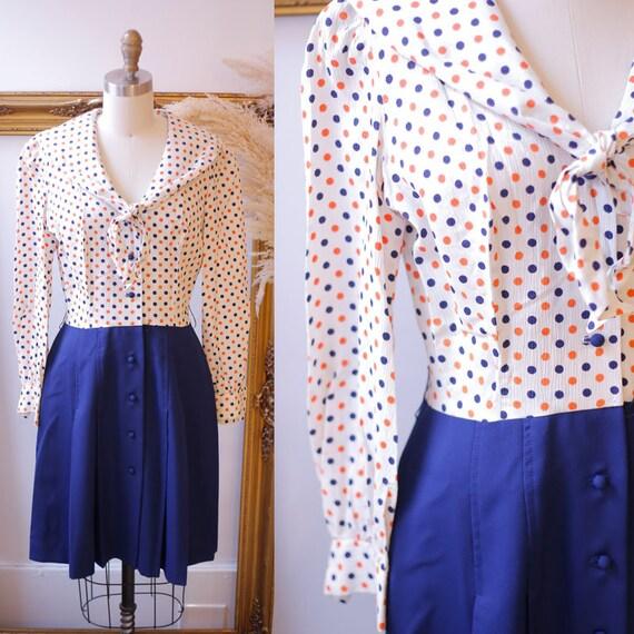 1960s polka dot dress // 1960s shirt dress // vintage dress