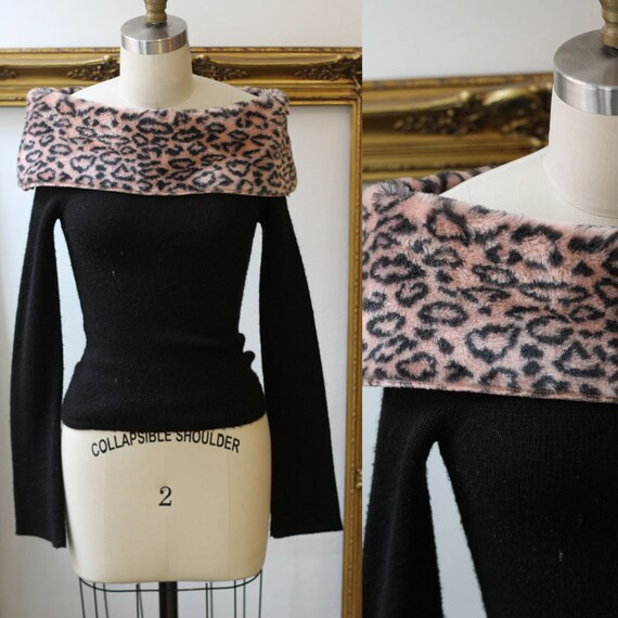 1990s pink leopard body con sweater // 1990s leopard sweater // vintage cropped sweater