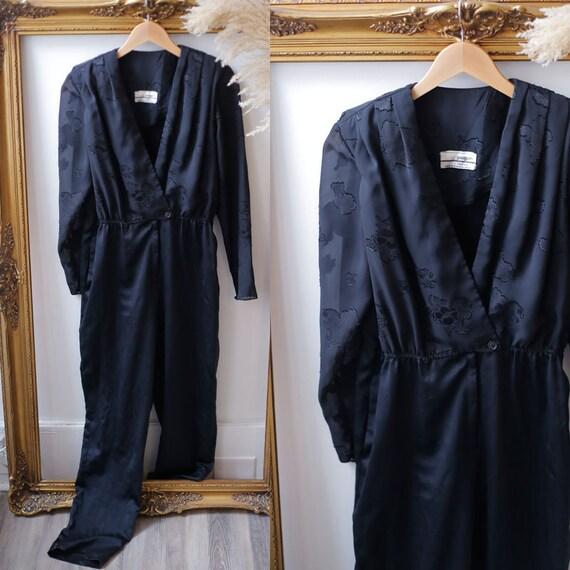 1980s black floral jumpsuit // 1980s black pantsuit // vintage jumpsuit