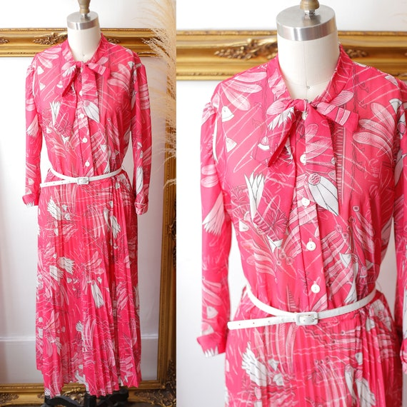 1970s pink floral dress // 1970s long sleeve dress // vintage dress