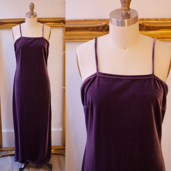 1990s purple velvet maxi dress // 1990s velvet dress // vintage dress