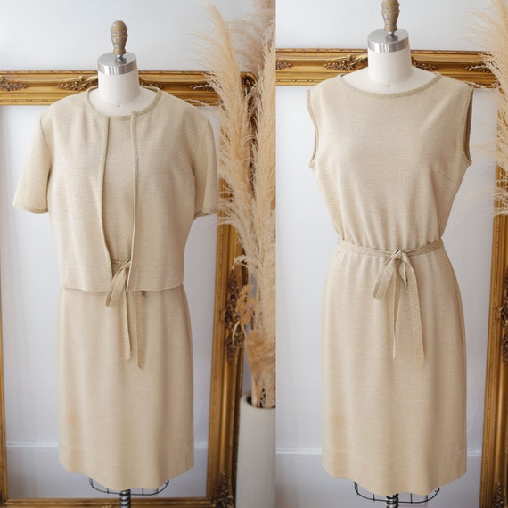1960s gold sparkle dress set // sweater dress set // vintage dress