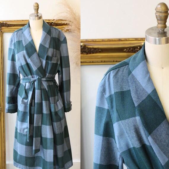 1970s plaid robe // 1970s plaid wrap jacket // vintage robe