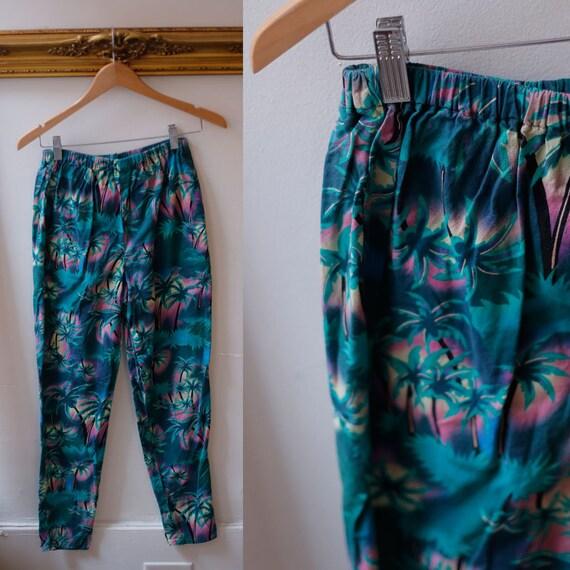 1990s tropical floral pants // vintage trousers // vintage tropical pants pockets