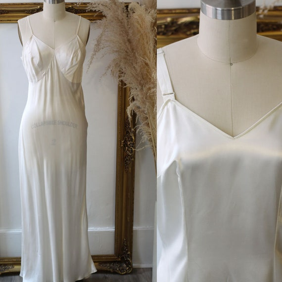 1960s white full length slip //  1960s slip dress // vintage lingerie