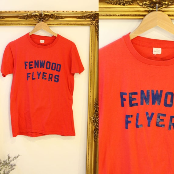 1970s red vintage t-shirt // 1970s Fenwood Flyers tshirt // vintage t-shirt