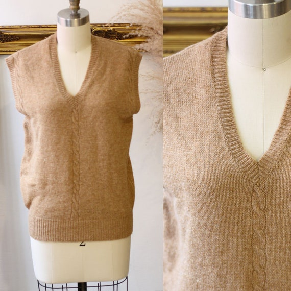 1970s light brown sweater knit vest // 1970s wool knit vest // Vintage vest