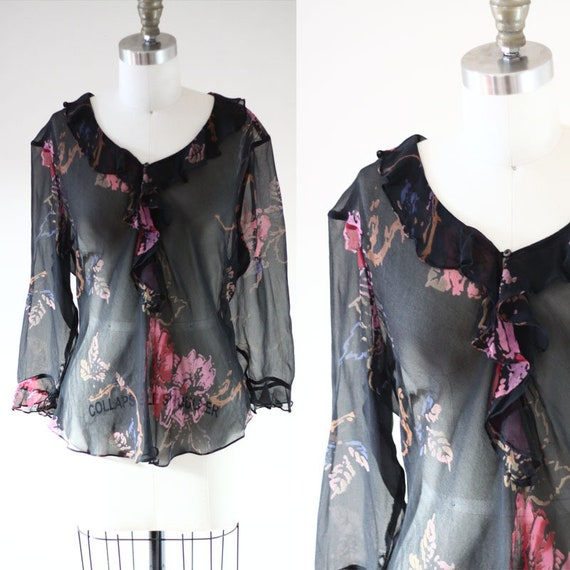1980s black floral blouse  // 1980s silk blouse // vintage top
