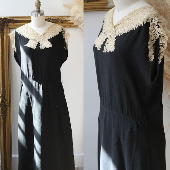 1920s black crepe dress // 1920s lace flapper dres