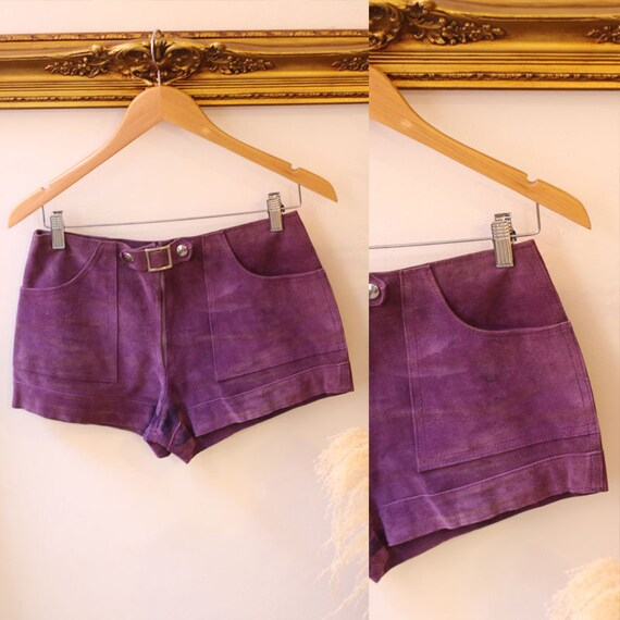 1960s purple leather hot pants //1960s leather shorts // 1960s leather shorts
