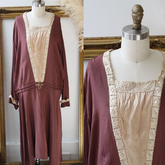 1920s burgundy silk dress // Early 1920s silk and lace dress // Antique dress