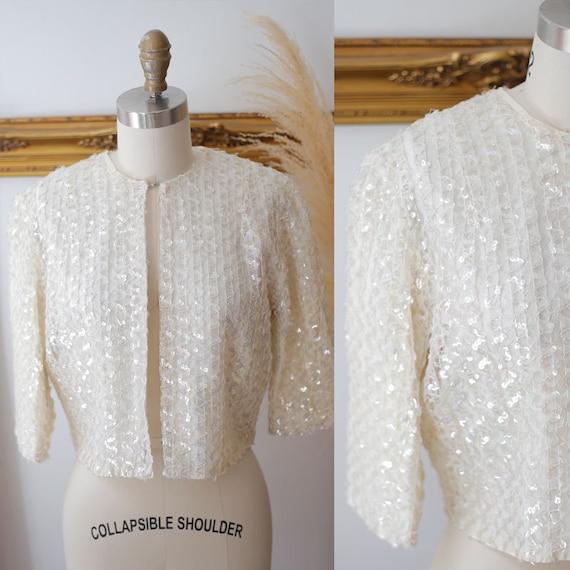 1960s white sequin top // 1960s white sequin jacket // vintage sequin top