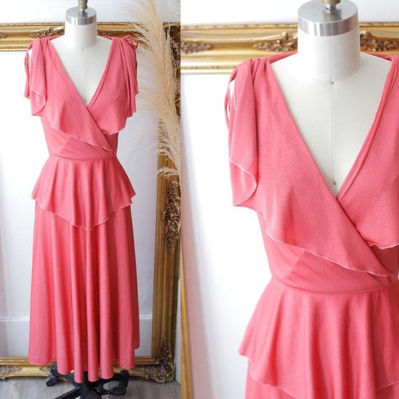 1970s pink wrap dress // 1970s wrap dress // vintage dress