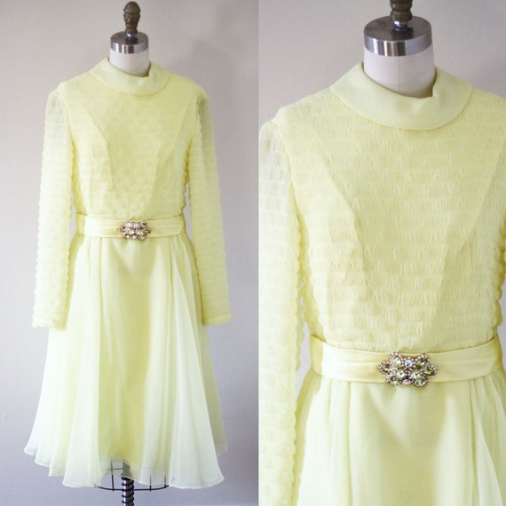 1960s yellow pleated party dress // cocktail dress // vintage dress