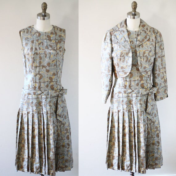 1960s paisley dress set // 1960s dress set // vintage dress set