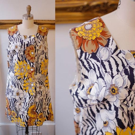 1960s tiger floral mod dress // 1960s mod dress // vintage dress