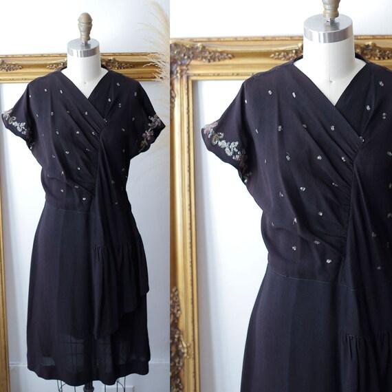 1930s black crepe dress // 1930s sequin dress // vintage dress