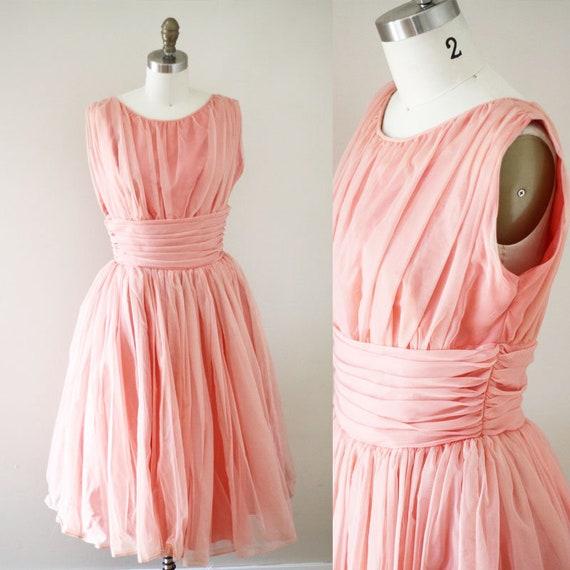 1960s pink a-line dress // pink chiffon party dress // vintage dress