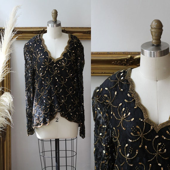 1970s black and gold beaded blouse // 1970s gold beaded long sleeve // 1970s beaded top