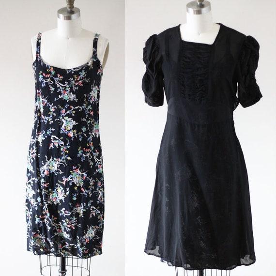 1930s sheer black crepe dress //  1930s floral slip // vintage day dress