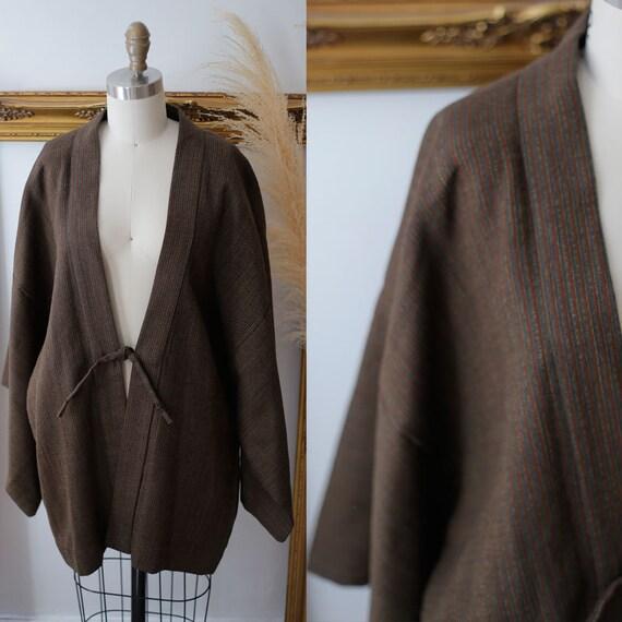 1970s brown striped haori jacket // 1970s haori jacket // vintage haori jacket