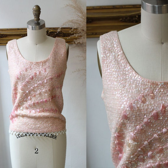 1960s soft pink sequin sweater tank // 1960s sequi