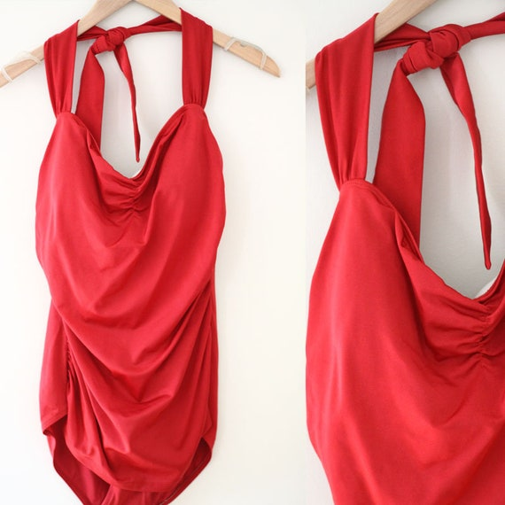 1960s red Bathing Suit // Vintage Swimsuit // Pin Up style bathing suit