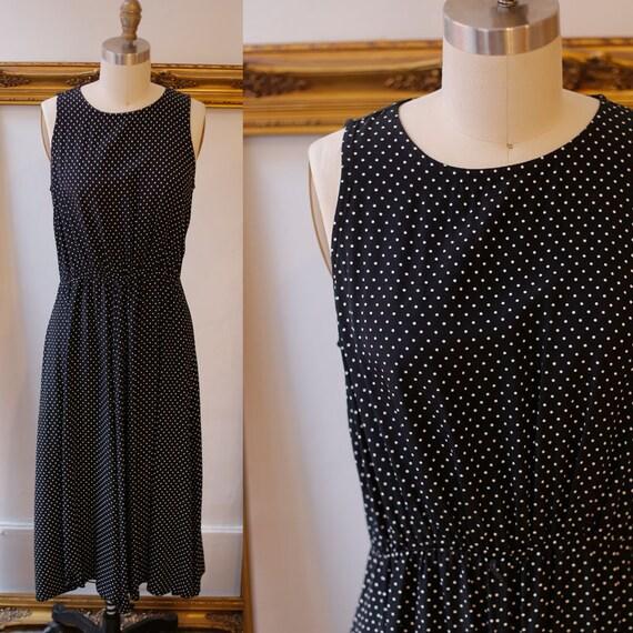 1990s black and white dot maxi dress // 1990s maxi