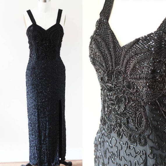1980s black beaded party dress // cocktail dress // vintage dress