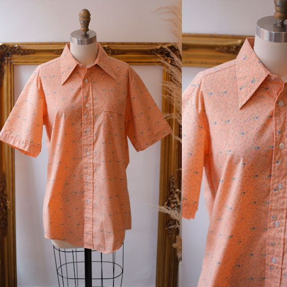 1970s geometric print top // 1970s peach button up top // 1970s collared shirt