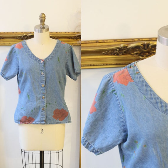 1990s short sleeve denim blouse // 1990s roses print jean shirt // vintage denim shirt