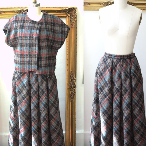 1960s plaid wool skirt set // 1960s wool two piece set // vintage dress