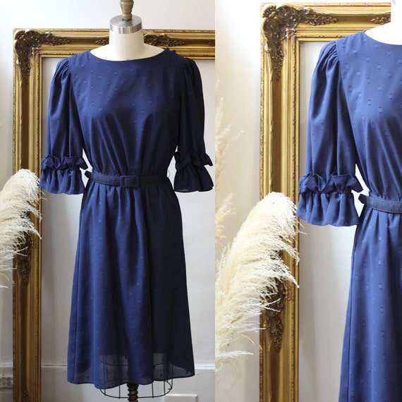 1980s navy blue belted dress // 1980s ruffle cocktail dress // vintage dress