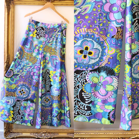 1970s floral psychedelic palazzo pants // vintage palazzo pants // vintage pants