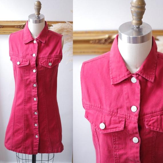 1980s pink denim dress // 1980s button up dress // vintage denim dress