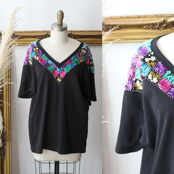 1980s sequin top t-shirt // 1980s sequin shirt // vintage sequin top