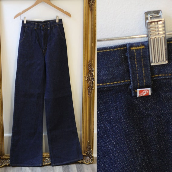1970s GWG Dark Wash wide leg jeans // vintage denim // vintage jeans